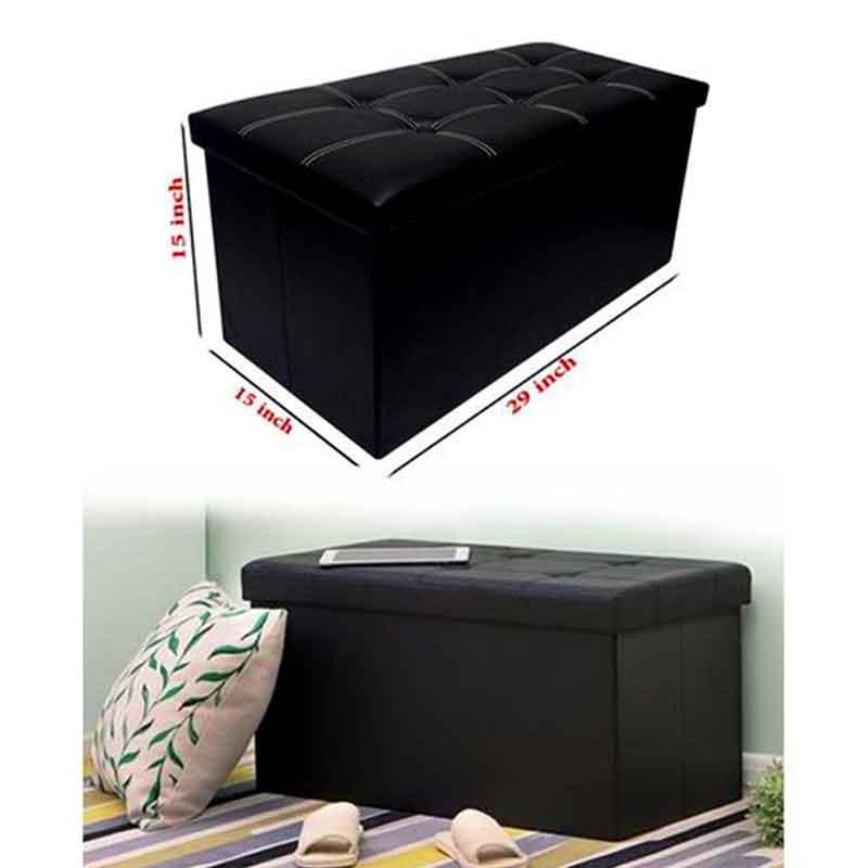 Folding-Storage-Ottoman-Coffee-Table-Foot-Rest-Stool-Black