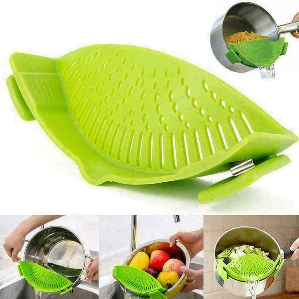 Pot-Drainer-Pan-Strainer-Silicon-Filter-Clip-On-Pot-Pan